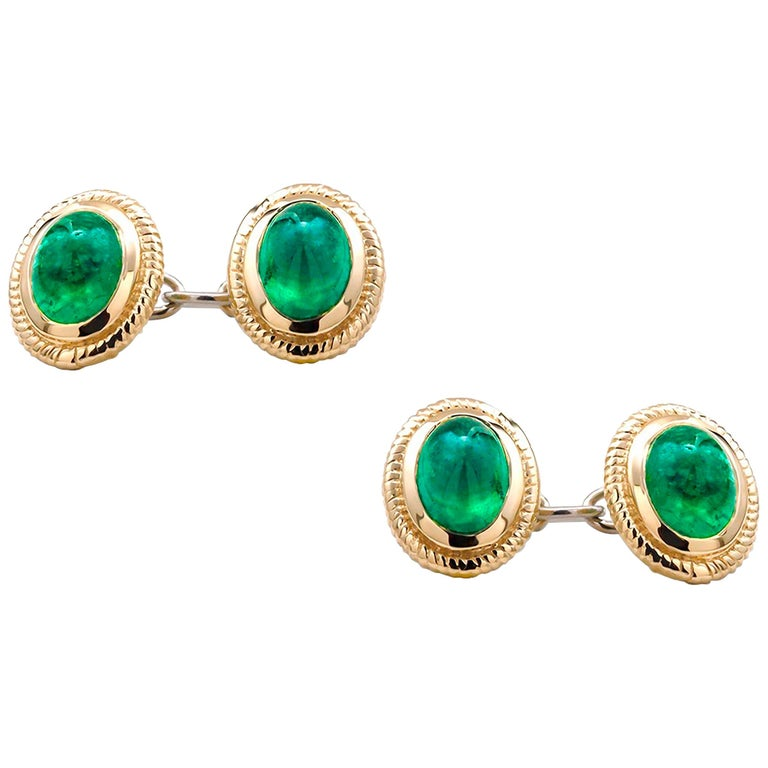 Modern Matching Pair of Cabochon Emerald Gents Double Sides Chain Link Cufflinks For Sale