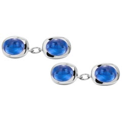 Modern Matching Pair of Cabochon Sapphir Gents Double Sides Chain Link Cufflinks