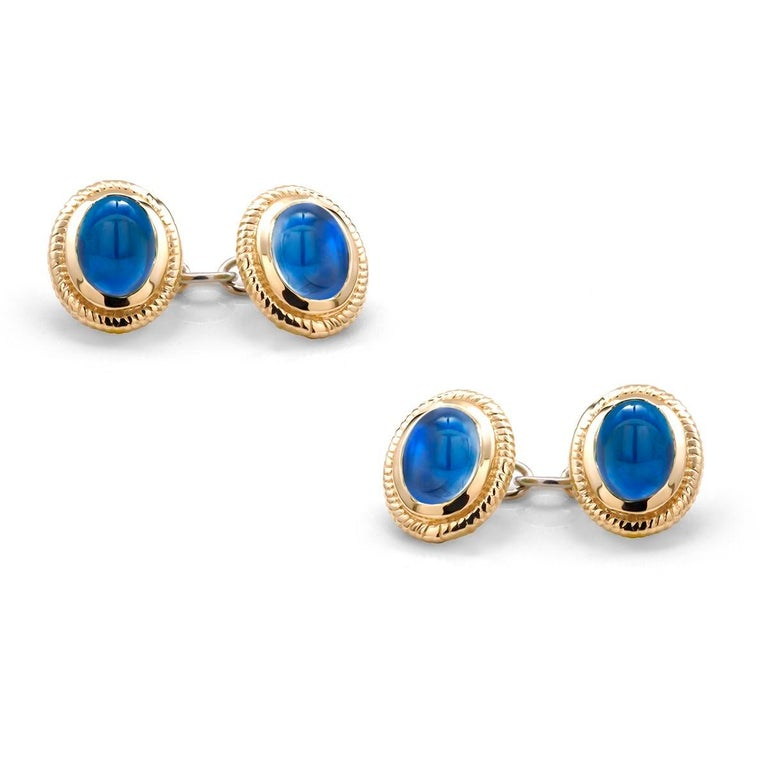 Oval Cut Modern Matching Pair of Cabochon Sapphire Double Sides Chain Link Cufflinks For Sale
