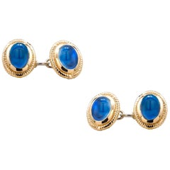 Modern Matching Pair of Cabochon Sapphire Double Sides Chain Link Cufflinks