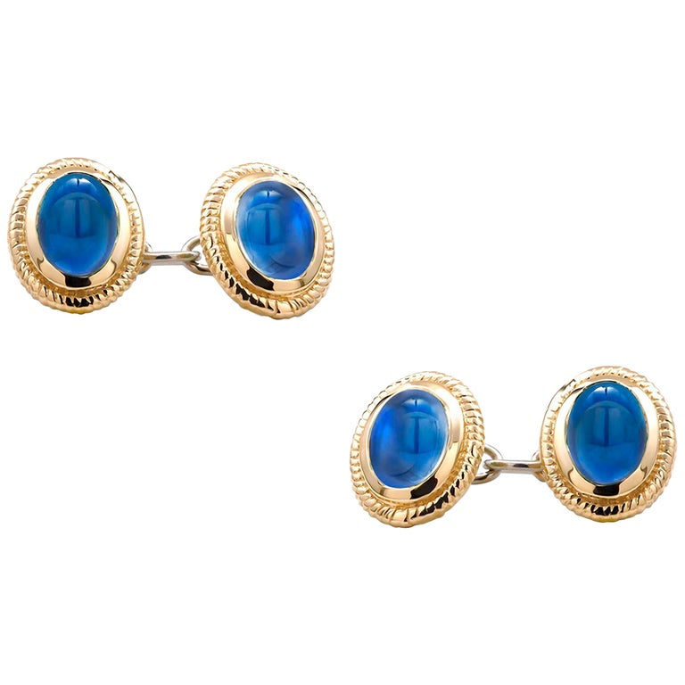 Modern Matching Pair of Cabochon Sapphire Double Sides Chain Link Cufflinks For Sale