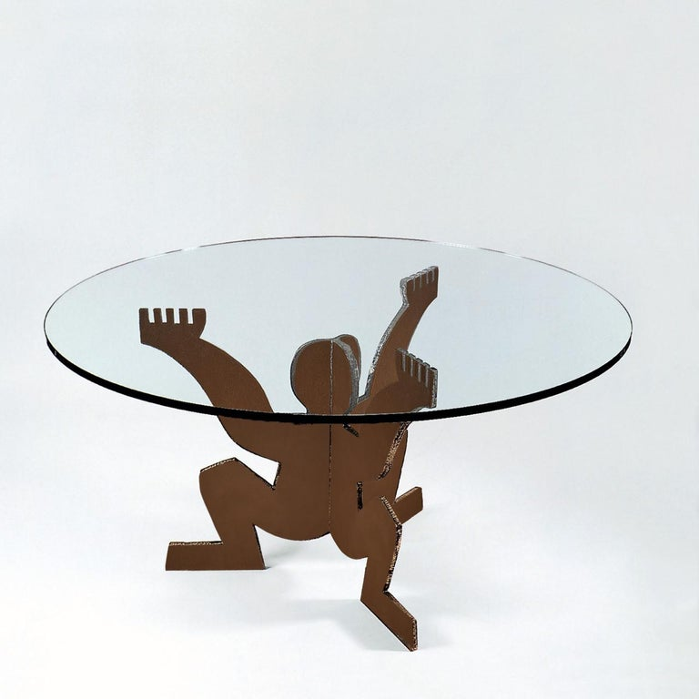 Italian Modern Maurizio Cattelan for Dilmos Round Dining Table Crude Iron Glass For Sale