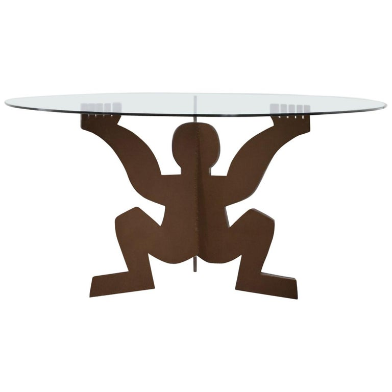 Modern Maurizio Cattelan for Dilmos Round Dining Table Crude Iron Glass For Sale