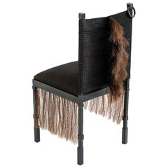 Modern Medieval Handmade Horsehair & Iron Side Chair Designed by J.M. Szymanski