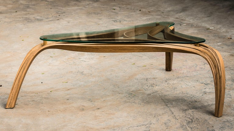 Unknown Modern Medium Bent Wood Coffee Table with Safety Glass Top by Raka Studio For Sale