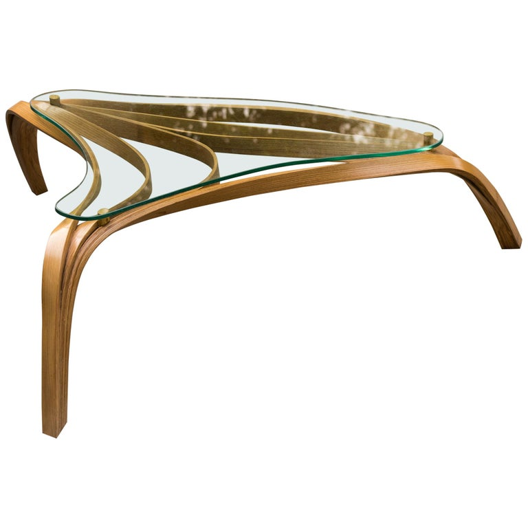 Modern Medium Bent Wood Coffee Table with Safety Glass Top by Raka Studio For Sale