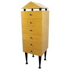 Modern Memphis Maple Highboy Lingerie Dresser Cabinet Sotsass Era, 1980s