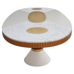 Modern Memphis Oval Dining Table Red & White Top, Gold Stainless Steel Details
