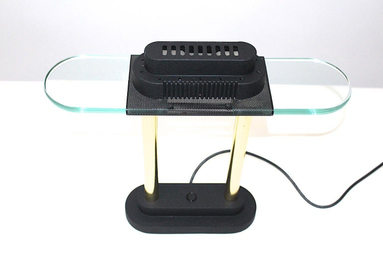 Brass Modern Memphis Style Metal and Glass Vintage Table Lamp by Robert Sonneman, 1987 For Sale