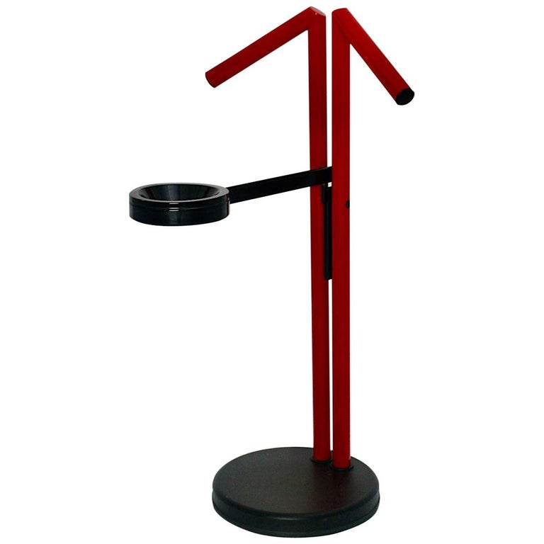 Modern Memphis Style Vintage Red Black Metal Valet, 1980s, Italy For Sale