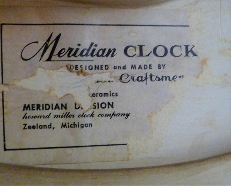 Late 20th Century Modern Meridian Italian Ceramic Wall Clock by Howard Miller, 1970s For Sale