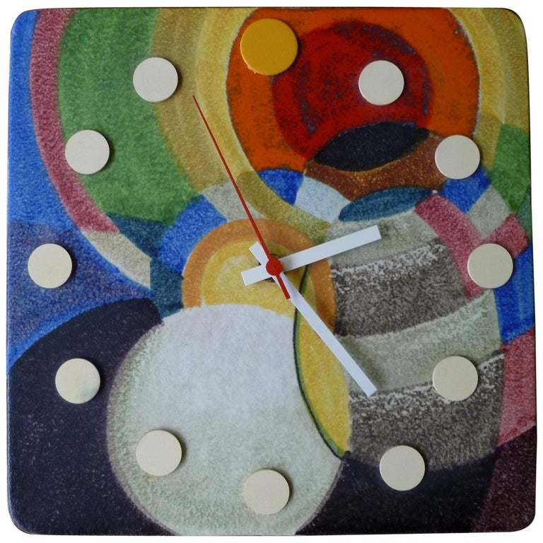 Modern Meridian Italian Ceramic Wall Clock by Howard Miller, 1970s For Sale