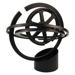 Modern Metal Abstract Mechanic Sculpture With Metal Wheel