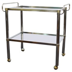 Modern Metal Bar Cart With Glass levels