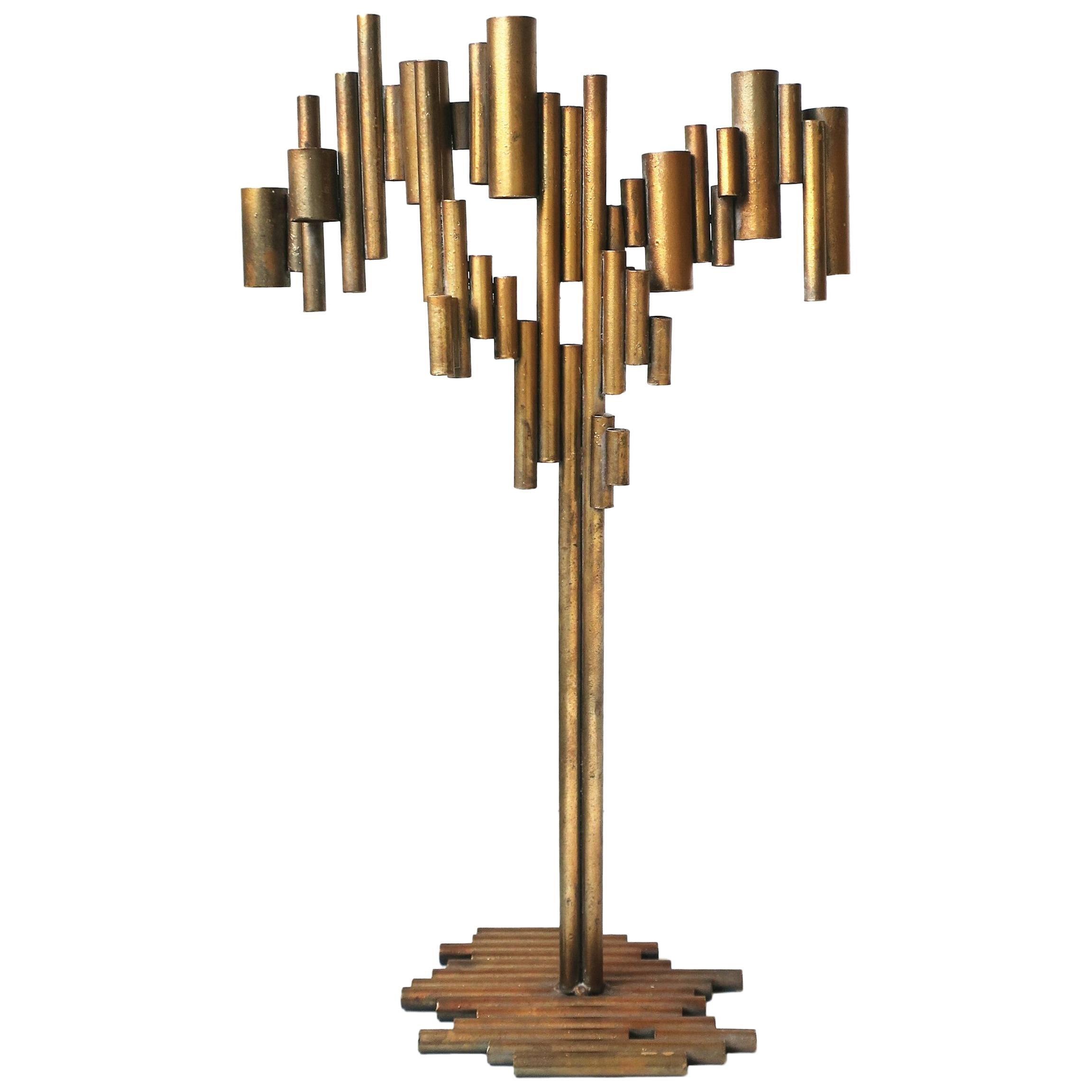 Modern Metal Candelabra Sculpture