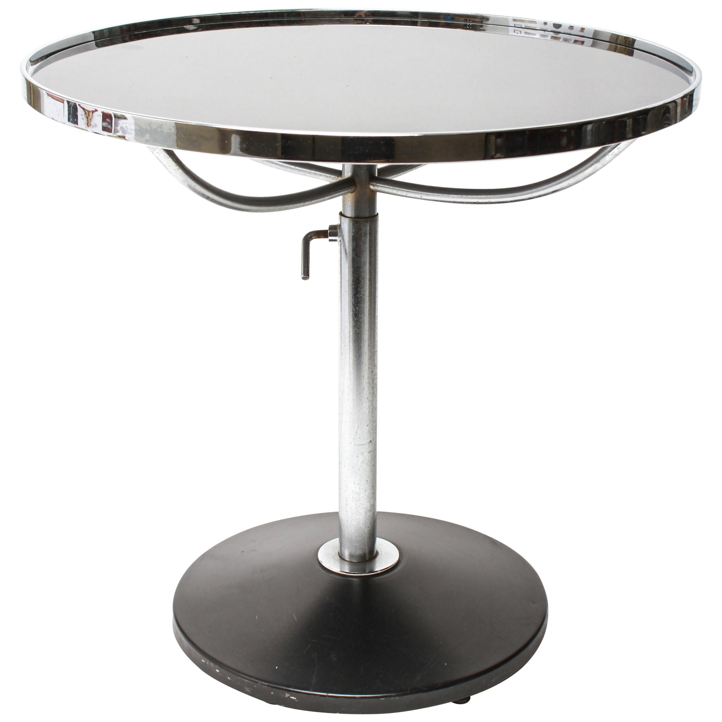 Modern Metal Circular Side Table With Adjustable Height At 1stdibs
