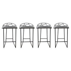 Modern Metal Counter Stools with Faux Snakeskin Leather Seat, Set of Four