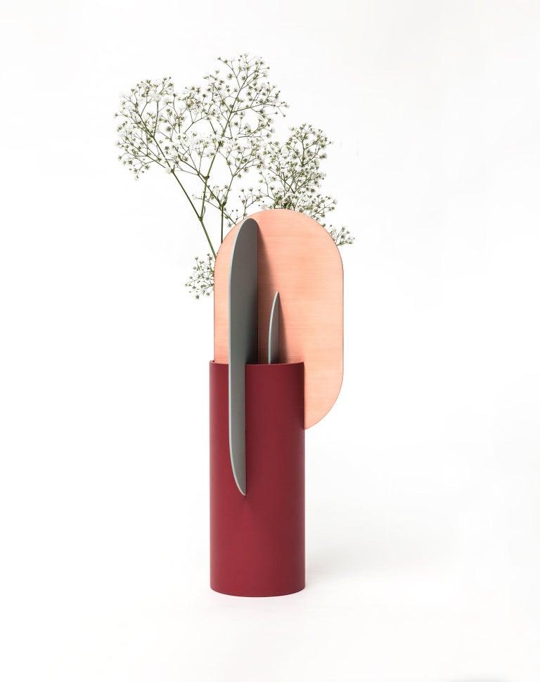 Ukrainian Modern Metal Vase Ekster CS1 by Noom in Copper and Steel For Sale