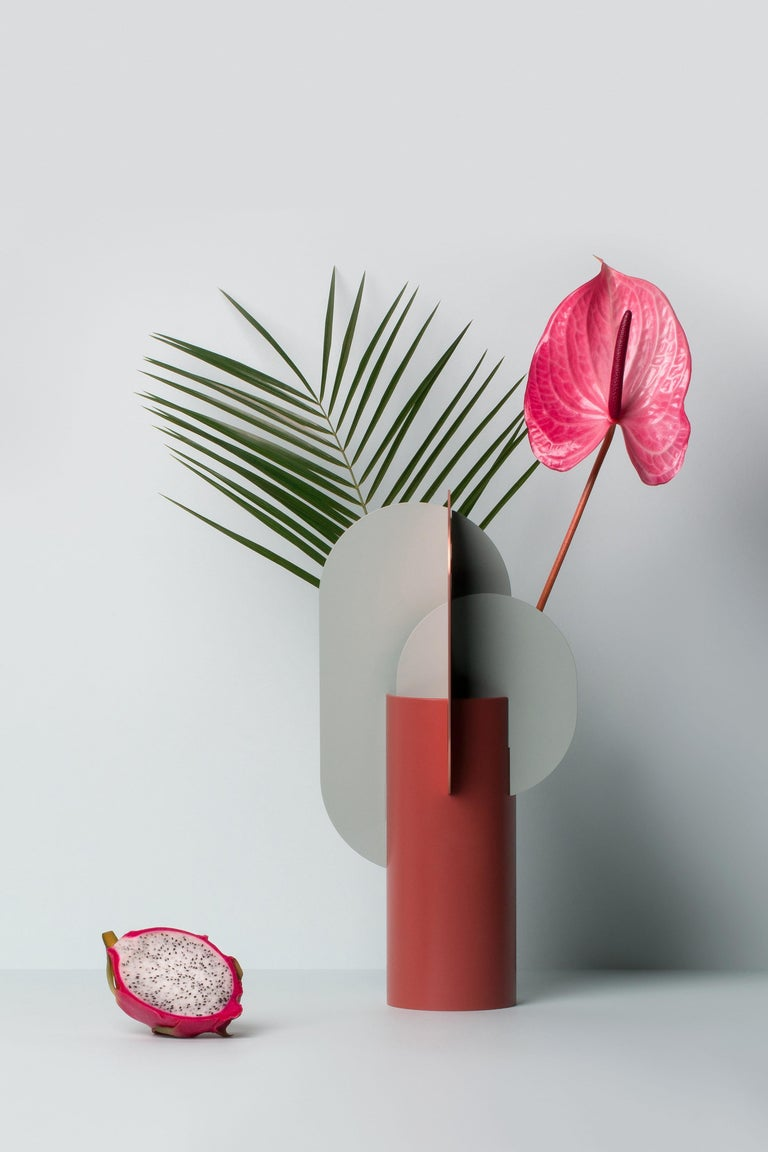 Brushed Modern Metal Vase Ekster CS1 by Noom in Copper and Steel For Sale