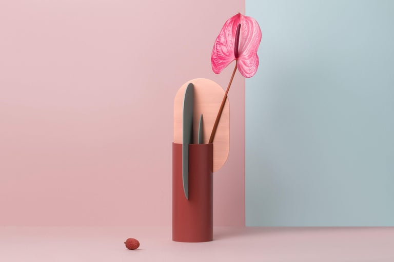 Modern Metal Vase Ekster CS1 by Noom in Copper and Steel In New Condition For Sale In Kyiv, UA