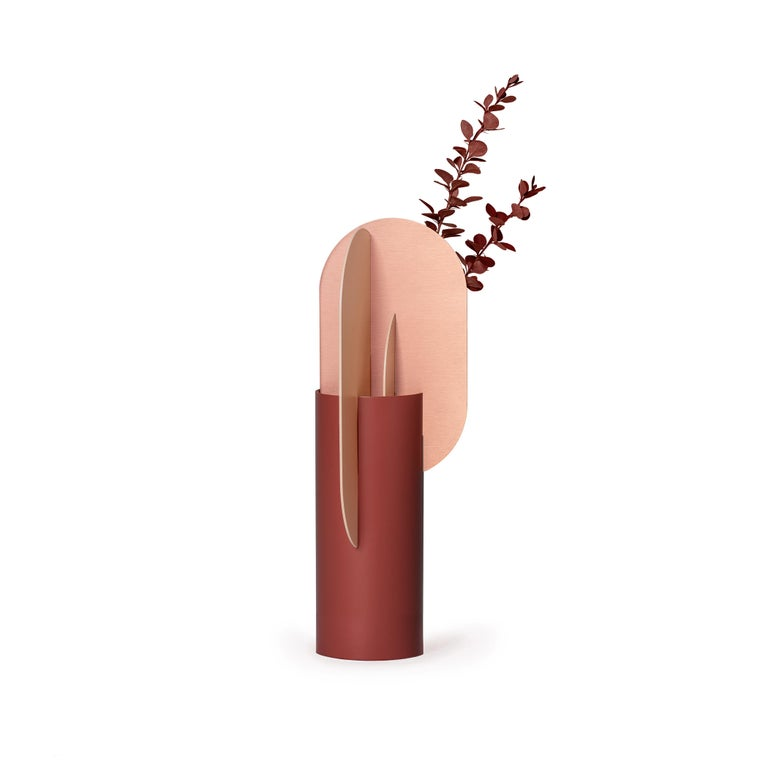 Modern Metal Vase Ekster CS7 by Noom in Copper and Steel In New Condition For Sale In Kyiv, UA