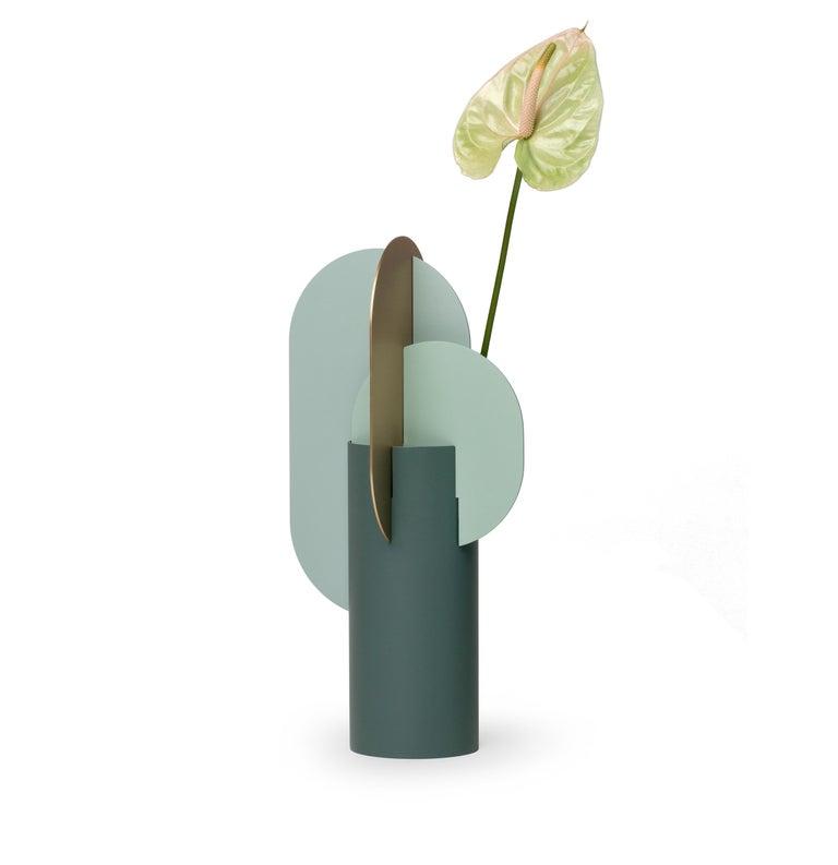 Ukrainian Modern Metal Vase Ekster CS9 by Noom in Brass and Steel For Sale