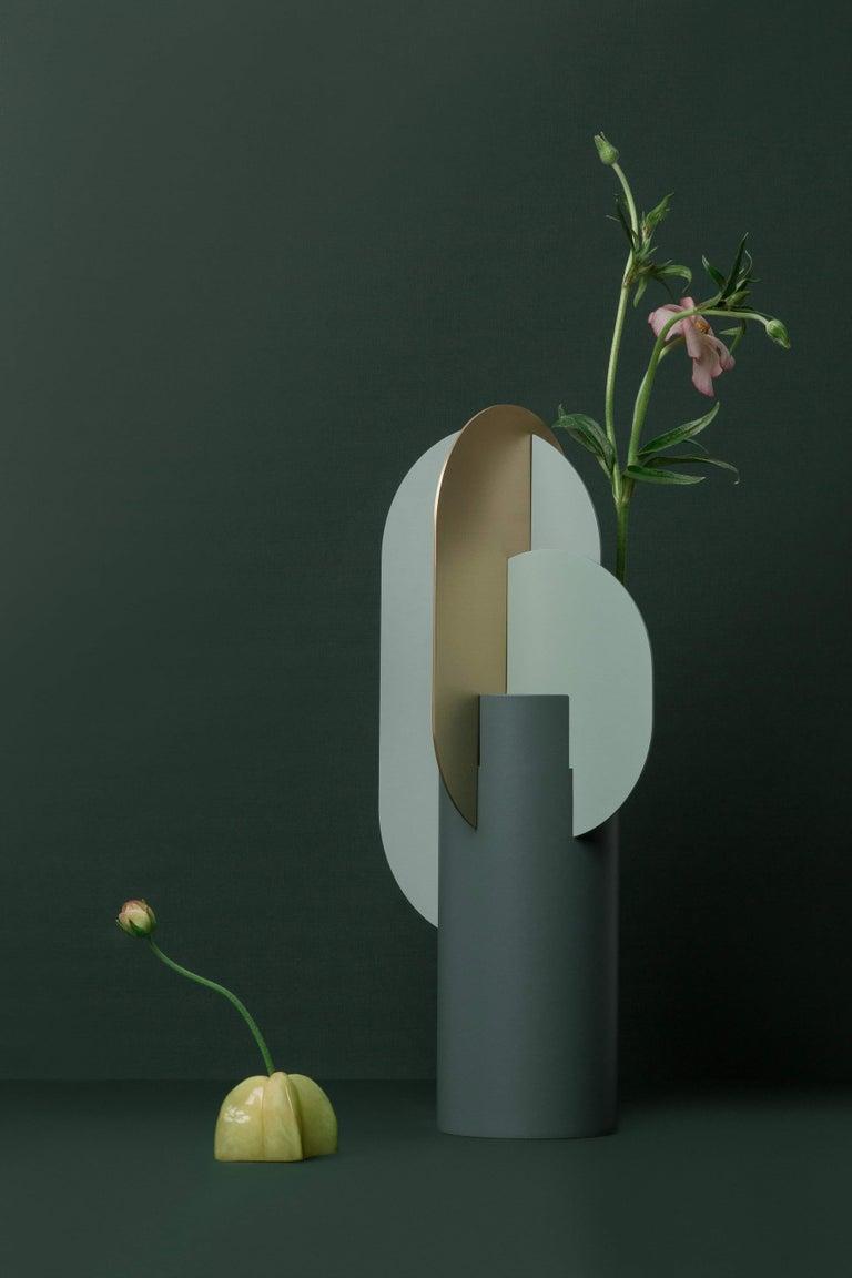 2010s Modern Metal Vase Ekster CS9 by Noom in Brass and Steel For Sale