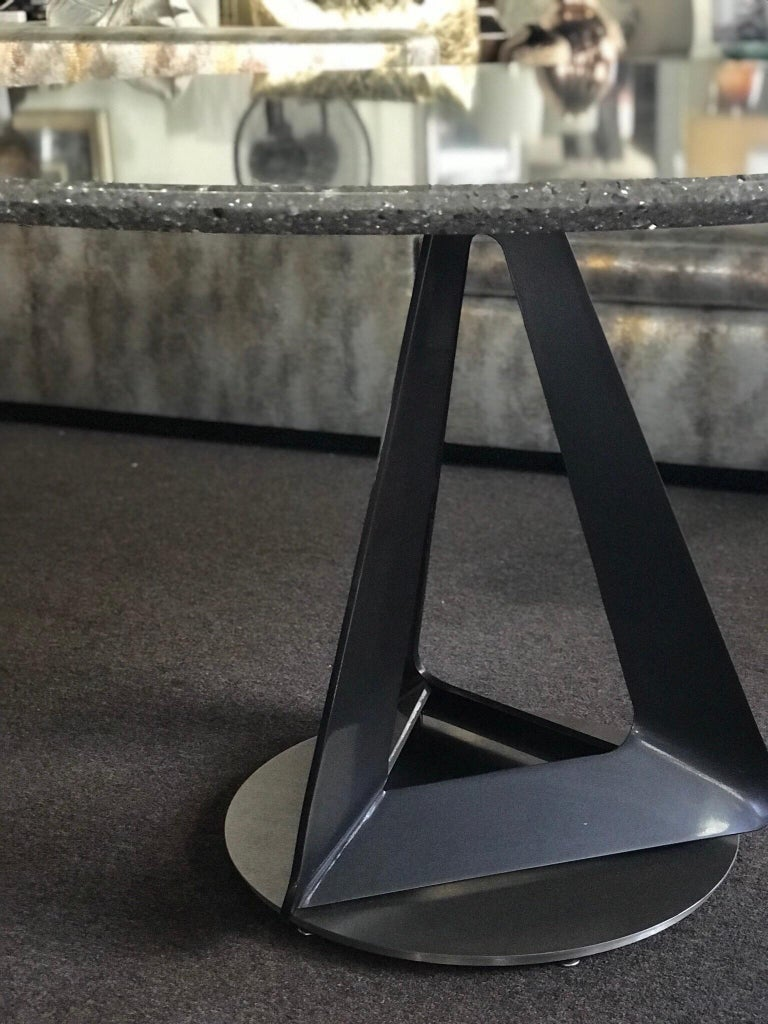 Unknown Modern Metallic Quartz Game or Dining Table with Art Sculpture Base For Sale