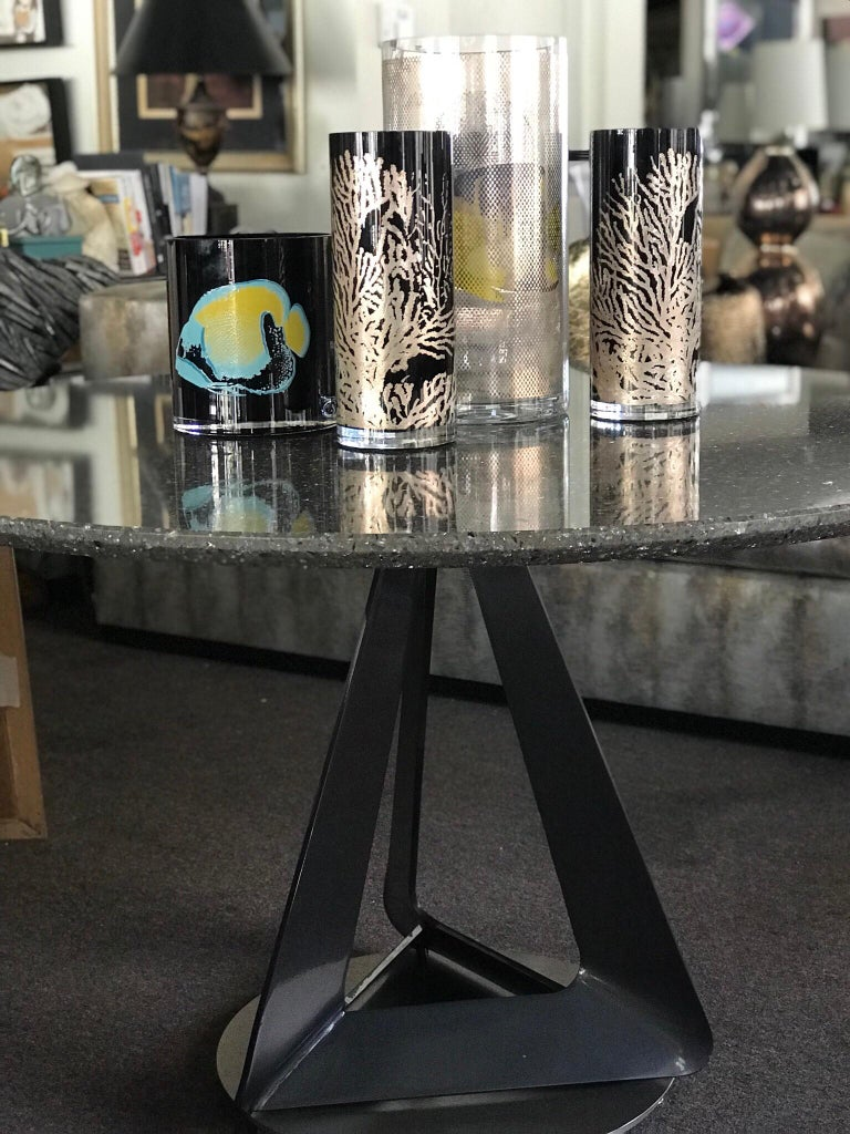 Modern Metallic Quartz Game or Dining Table with Art Sculpture Base For Sale 2