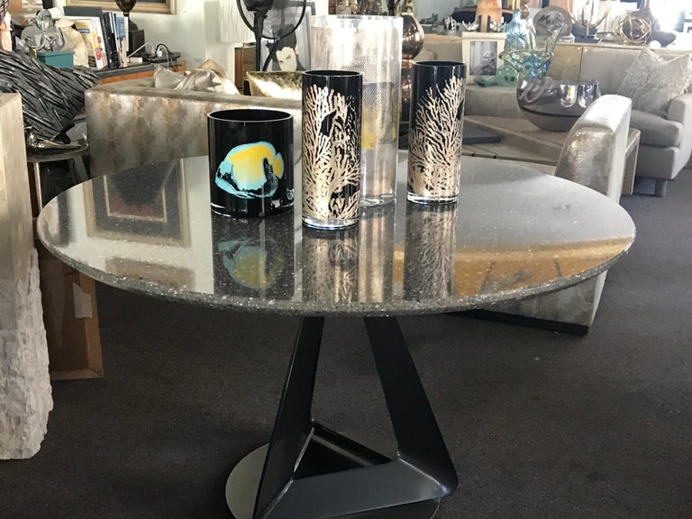 Modern Metallic Quartz Game or Dining Table with Art Sculpture Base For Sale 3