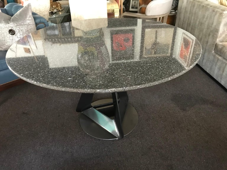 Modern Metallic Quartz Game or Dining Table with Art Sculpture Base For Sale 1