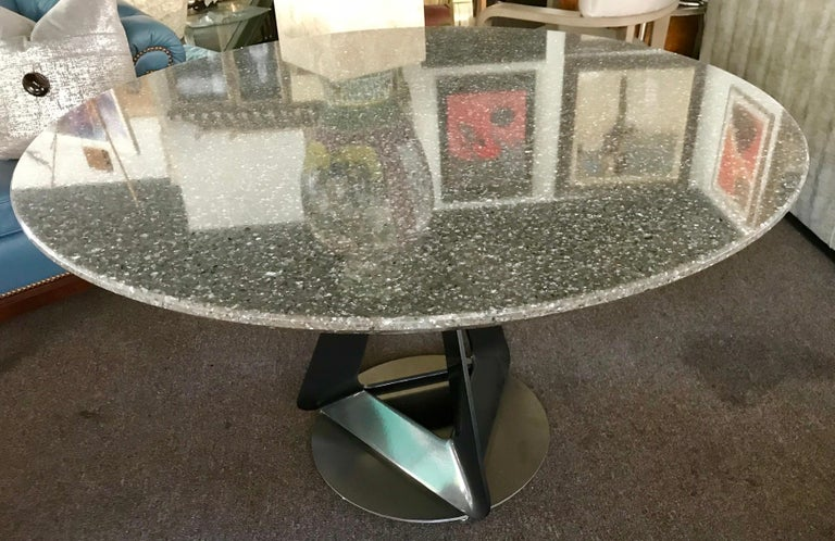 Modern Metallic Quartz Game or Dining Table with Art Sculpture Base In Excellent Condition For Sale In Palm Springs, CA