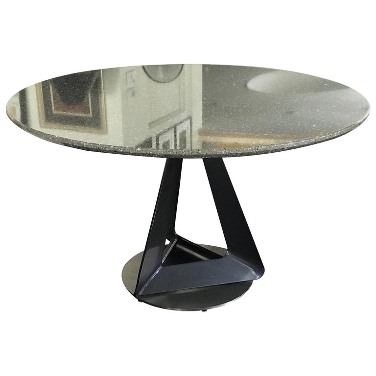 Modern Metallic Quartz Game or Dining Table with Art Sculpture Base For Sale