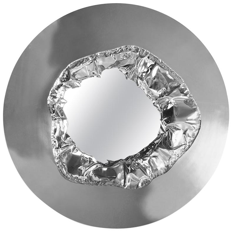 Modern Meteor Wall Mirror in Polished Hammered Aluminum, Wall Art Decoration