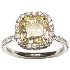 Modern Micro Pavé Yellow Diamond and White Gold Ring