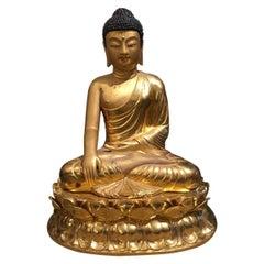 Modern Midcentury Bronze Chinese Seated Buddha Statue