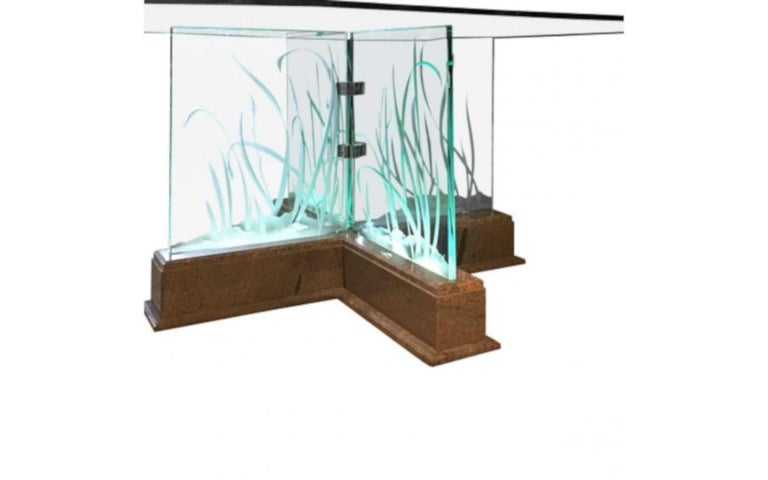 Mid-Century Modern Modern Midcentury Etched Glass Illuminated Square Dining Table For Sale