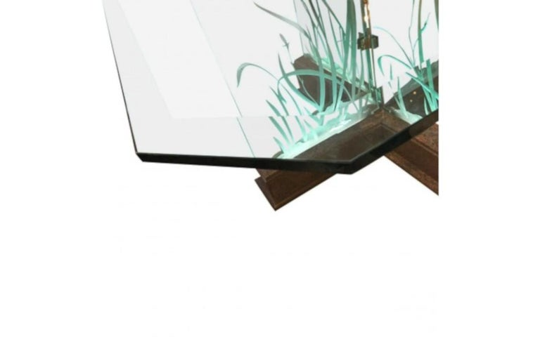 Italian Modern Midcentury Etched Glass Illuminated Square Dining Table For Sale
