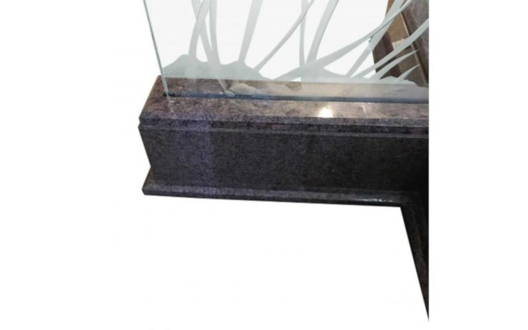 Modern Midcentury Etched Glass Illuminated Square Dining Table In Good Condition For Sale In Pasadena, CA