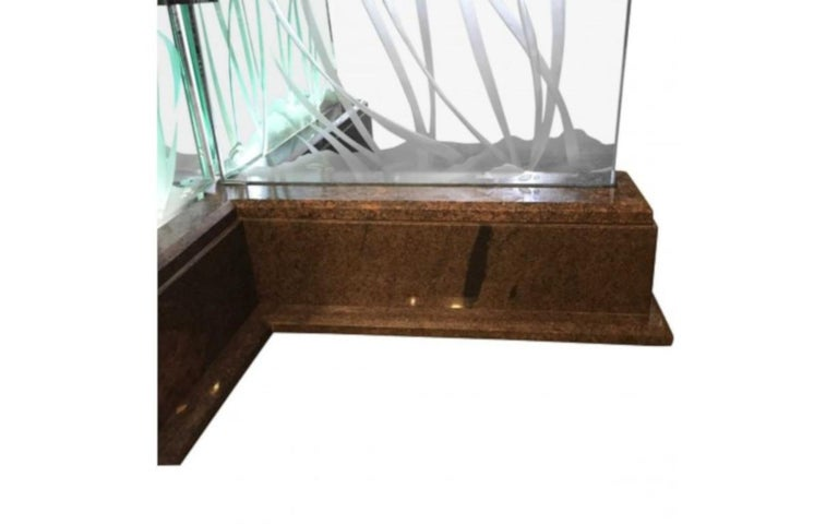 20th Century Modern Midcentury Etched Glass Illuminated Square Dining Table For Sale