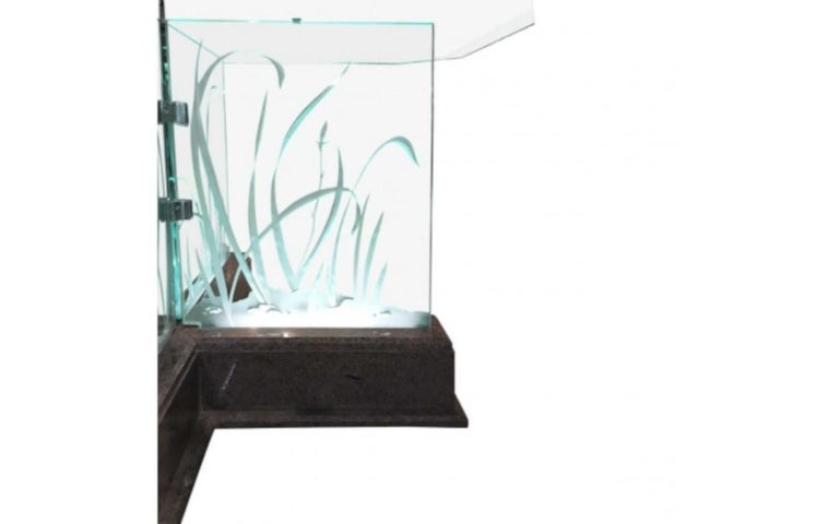 Art Glass Modern Midcentury Etched Glass Illuminated Square Dining Table For Sale