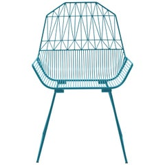Modern, Midcentury Inspired Wire Lounge Chair, the Farmhouse in Peacock Blue