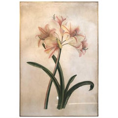 Modern Midcentury Lilies Late-20th Century Painting on Canvas Unique Work