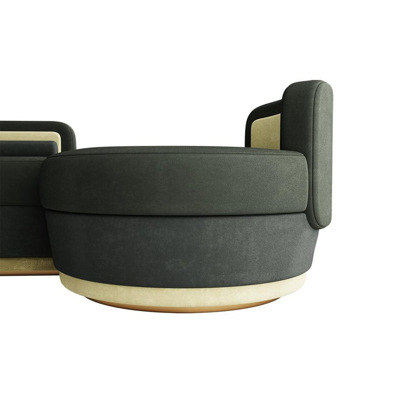 Mid-Century Modern Modern Mid-Century Modular Curved Green Sofa with Side Tables and Gold Details For Sale
