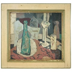 Modern Midcentury Still Life Abstract in Custom Double Sided Frame