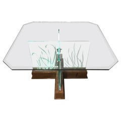 Modern Midcentury Etched Glass Illuminated Square Dining Table