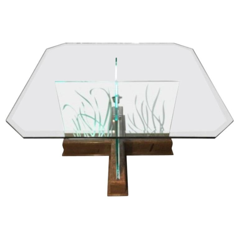 Modern Midcentury Etched Glass Illuminated Square Dining Table For Sale
