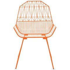 Modern, Midcentury Inspired Wire Lounge Chair, The Farmhouse in Orange