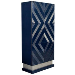 Modern Midnight Blue Bar Cabinet