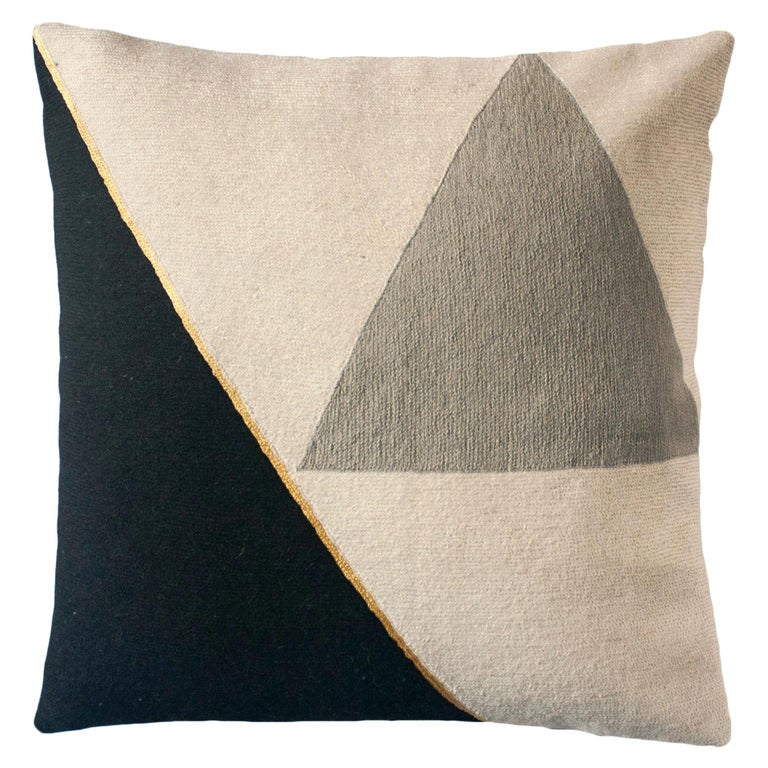 Modern Midnight Cliff Hand Embroidered Geometric Throw Pillow Cover For Sale